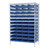 Akro-Mils Wire Shelving Kit, 24x48x74, 48 Bins, Chrome/Blue