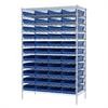 Wire Shelving Kit, 24x48x74, 48 Bins, Chrome/Blue