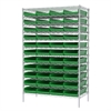 Akro-Mils Wire Shelving Kit, 24x48x74, 48 Bins, Chrome/Green