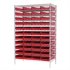Akro-Mils Wire Shelving Kit, 24x48x74, 48 Bins, Chrome/Red