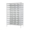 Wire Shelving Kit, 24x48x74, 48 Bins, Chrome/Clear