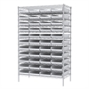 Akro-Mils Wire Shelving Kit, 24x48x74, 48 Bins, Chrome/White