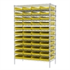 Akro-Mils Wire Shelving Kit, 24x48x74, 48 Bins, Chrome/Yellow