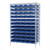Akro-Mils Wire Shelving Kit, 24x48x74, 60 Bins, Chrome/Blue