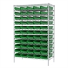 Wire Shelving Kit, 24x48x74, 60 Bins, Chrome/Green