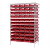Wire Shelving Kit, 24x48x74, 60 Bins, Chrome/Red