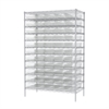 Wire Shelving Kit, 24x48x74, 60 Bins, Chrome/Clear