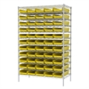 Akro-Mils Wire Shelving Kit, 24x48x74, 60 Bins, Chrome/Yellow