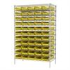 Wire Shelving Kit, 24x48x74, 60 Bins, Chrome/Yellow