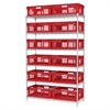 Akro-Mils Wire Shelving Straight Wall Containers, Chrome/Red
