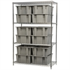 Wire Shelving Kit, 24x60x74, 12 Totes, Chrome/Gray