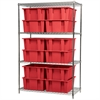 Akro-Mils Wire Shelving Kit, 24x60x74, 12 Totes, Chrome/Red