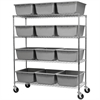Mobile Wire Shelving Kit, 12 Tubs, Chrome/Gray