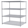 36x48x54, 4-Shelf Wire Shelving Unit, Chrome