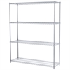 18x60x74, 4-Shelf Wire Shelving Unit, Chrome