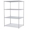 36x48x74, 4-Shelf Wire Shelving Unit, Chrome
