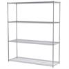 24x72x86, 4-Shelf Wire Shelving Unit, Chrome