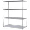36x72x86, 4-Shelf Wire Shelving Unit, Chrome