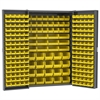 HD Steel Bin Cabinet, 216 Bins, Gray/Yellow