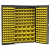 HD Steel Bin Cabinet, 228 Bins, Gray/Yellow