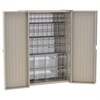 HD Bin Cabinet w/ 16 TiltView Bins, Beige/Clear