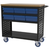 Akro-Mils Louvered Cart, 37x18, 6 AkroDrawers/Blue, Black/Blue