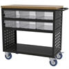 Akro-Mils Louvered Cart, 37x18, 6 AkroDrawers, Black/Clear