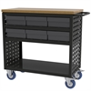 Akro-Mils Louvered Cart, 37x18, 6 AkroDrawers, Black/Gray