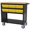 Akro-Mils Louvered Cart, 37x18, 6 AkroDrawers, Black/Yellow