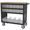 Akro-Mils Louvered Cart, 37x18, 16 AkroDrawers, Black/Clear