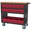 Louvered Cart, 37x18, 16 AkroDrawers/Red, Black/Red