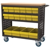 Louvered Cart, 37x18, 16 AkroDrawers, Black/Yellow