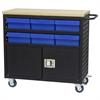 Lvd Cart w/Locking Doors, 6 AkroDrawers, Black/Blue