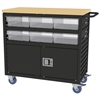 Lvd Cart w/Locking Doors, 6 AkroDrawers, Black/Clear