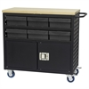 Lvd Cart w/Locking Doors, 6 AkroDrawers, Black/Gray