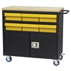 Akro-Mils Lvd Cart w/Locking Doors, 6 AkroDrawers, Black/Yellow