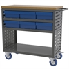 Louvered Cart, 6 AkroDrawers, Gray/Blue, Gray/Blue