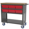 Louvered Cart, 6 AkroDrawers, Gray/Red, Gray/Red