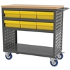 Akro-Mils Louvered Cart, 6 AkroDrawers, Gray/Yellow