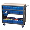 Louvered Cart, 16 AkroDrawers, Gray/Blue