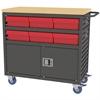 Lvd Cart w/Locking Doors, 6 AkroDrawers, Gray/Red