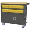 Akro-Mils Lvd Cart w/Locking Doors, 6 AkroDrawers, Gray/Yellow
