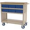 Louvered Cart, 6 AkroDrawers, Putty/Blue
