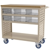 Louvered Cart, 6 AkroDrawers, Cry/Putty, Putty/Clear