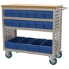 Akro-Mils Louvered Cart, 16 AkroDrawers, Putty/Blue