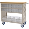 Louvered Cart, 16 AkroDrawers, Clear, Gray/Clear