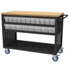Louvered Cart, 49x24, 36 AkroDrawers, Black/Clear