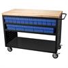 Akro-Mils Louvered Cart, 49x24, 32 AkroDrawers, Black/Blue