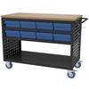 Akro-Mils Louvered Cart, 49x24, 16 AkroDrawers, Black/Blue