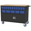 Lvrd Cart w/Locking Doors 32 AkroDrawers, Black/Blue